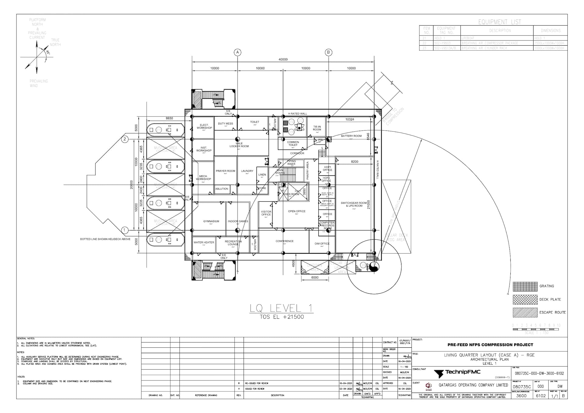 PRE-FEED-NFPS-080735C-000-DW-3600-6102_Rev B LQ Layout (Case A) - RGE - Architectural Plan - Level 1_page-0001
