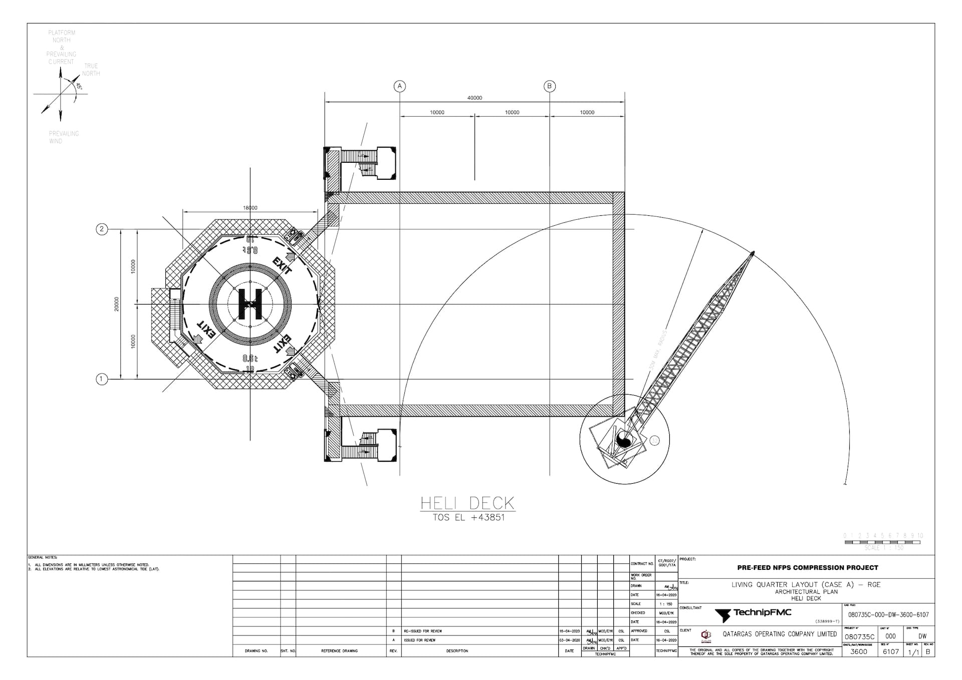 PRE-FEED-NFPS-080735C-000-DW-3600-6107_Rev B LQ Layout (Case A) - RGE - Architectural Plan - Heli Deck_page-0001