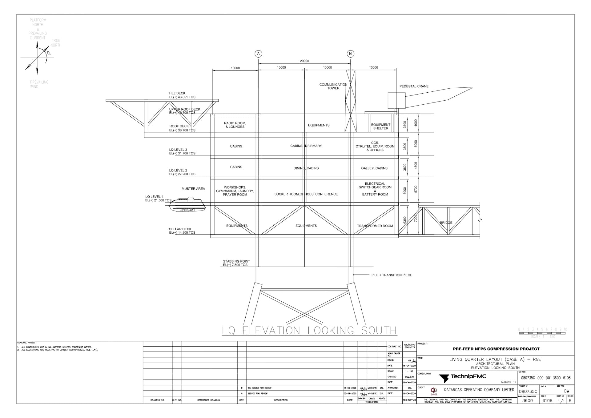 PRE-FEED-NFPS-080735C-000-DW-3600-6108_Rev B LQ Layout (Case A) - RGE - Architectural Plan - Elevation Looking South_page-0001 (1)