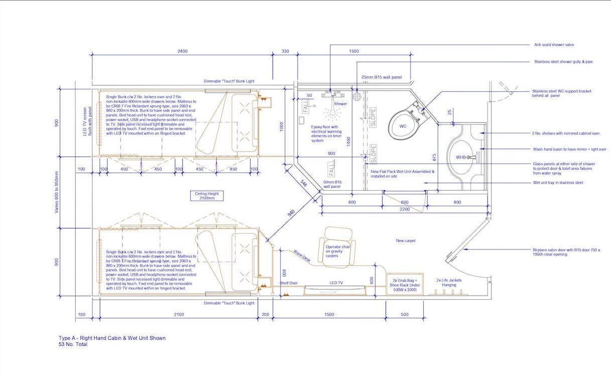 Section 4.3 - Sht 001 Type A Cabin _ Wet Unit GA